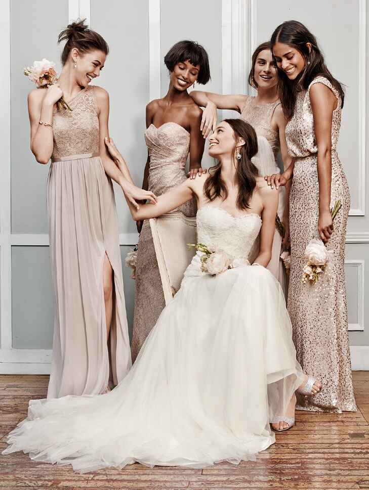 Models in metallic textured bridesmaid dresses