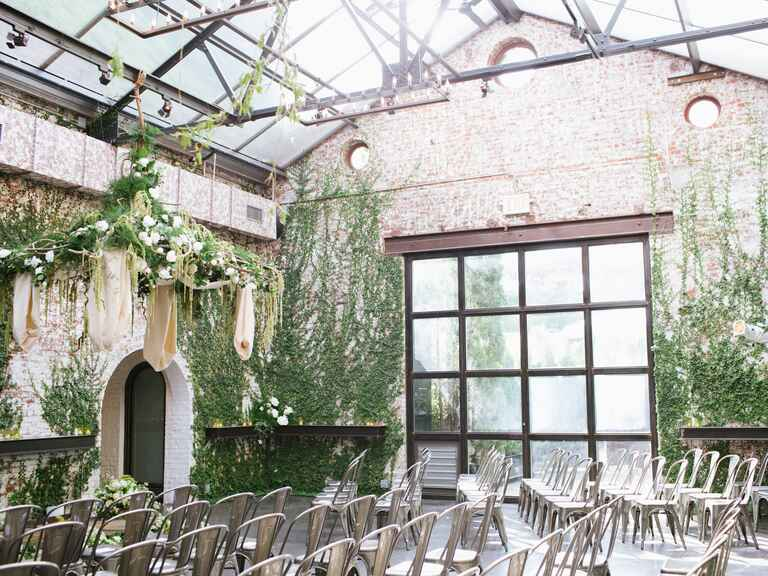 Wedding ceremony setup at The Foundry in Long Island City, New York