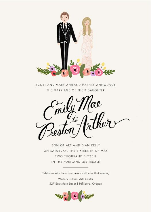 "The wedding invitations gave guests a great glimpse into the garden-inspired occasion. Cartoon versions of Emily and Preston standing over a bed of flowers accented the top of the white stationery. The same floral design accented the bottom of the page as well, with ""Emily Mae & Preston Arthur"" written in large black script."