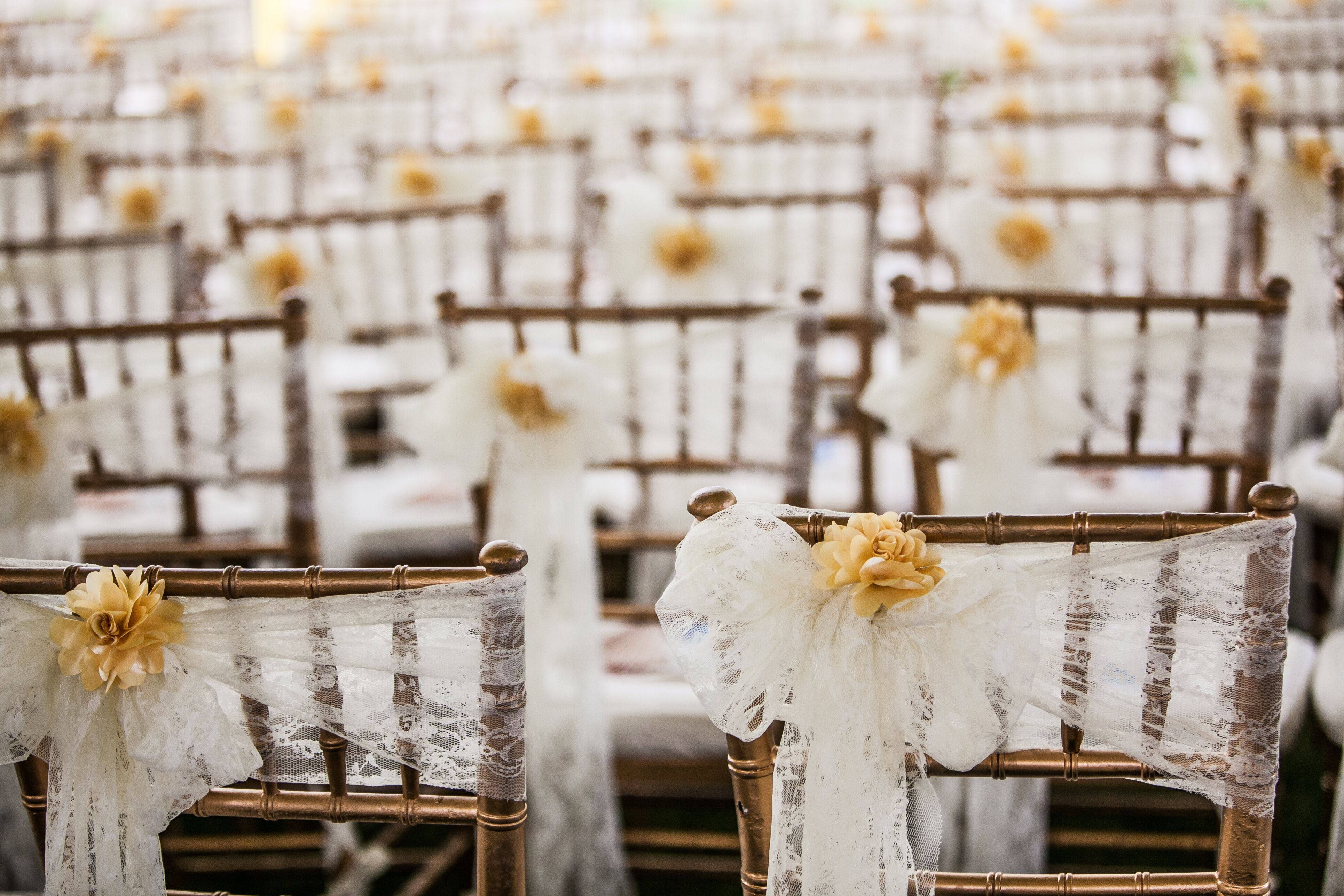 Chiavari Chairs Draped with White Tulle