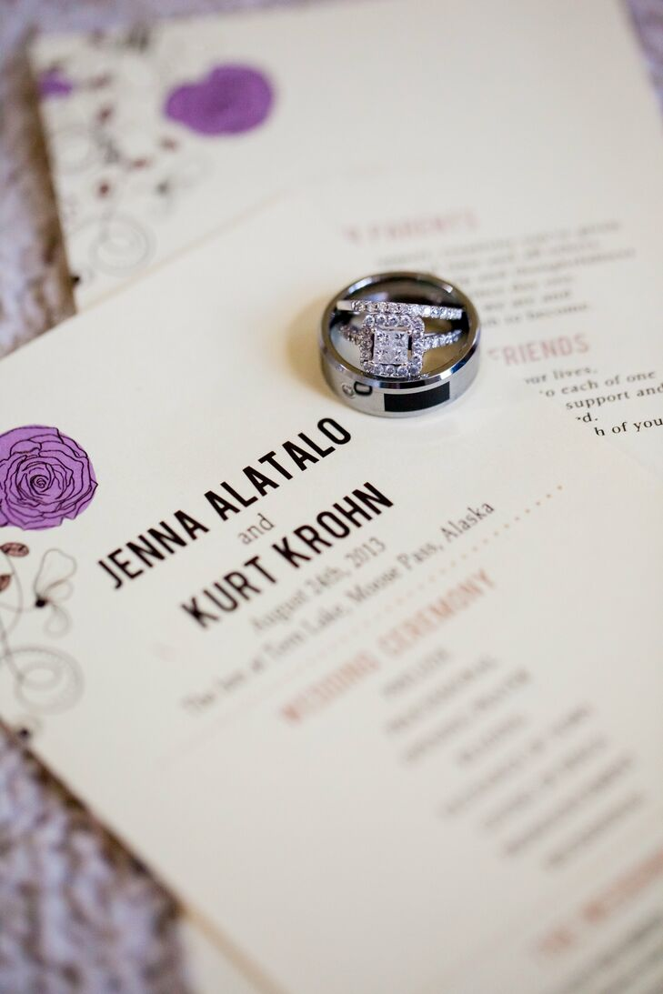 Purple and Brown Flower-Adorned Wedding Invitations