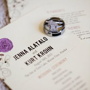 purple and brown flower adorned wedding invitations - Purple Wedding Rings