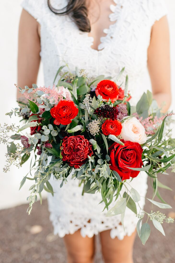Red Bouquet with Roses, Eucalyptus, Veronica and Baby's Breath