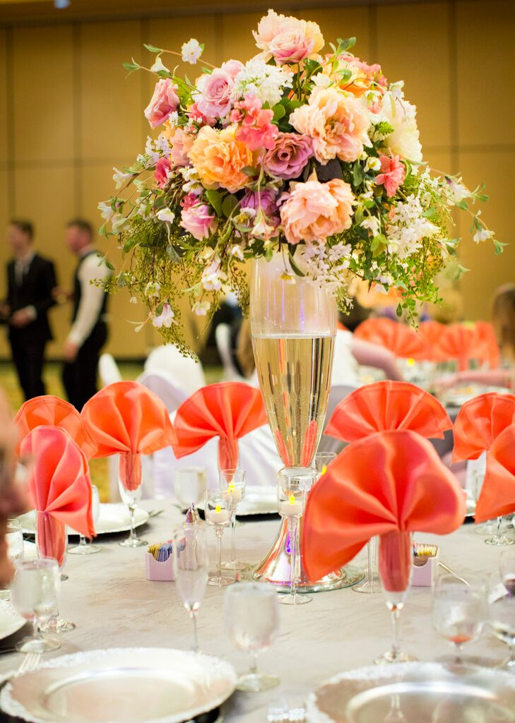 Peach And Lavender Rose Centerpieces