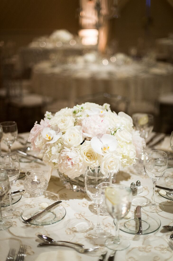 Classic Centerpieces With Orchids Roses And Hydrangeas
