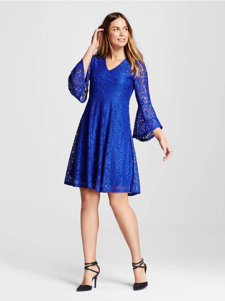 Target Blue Trumpet Sleeve Lace Dress