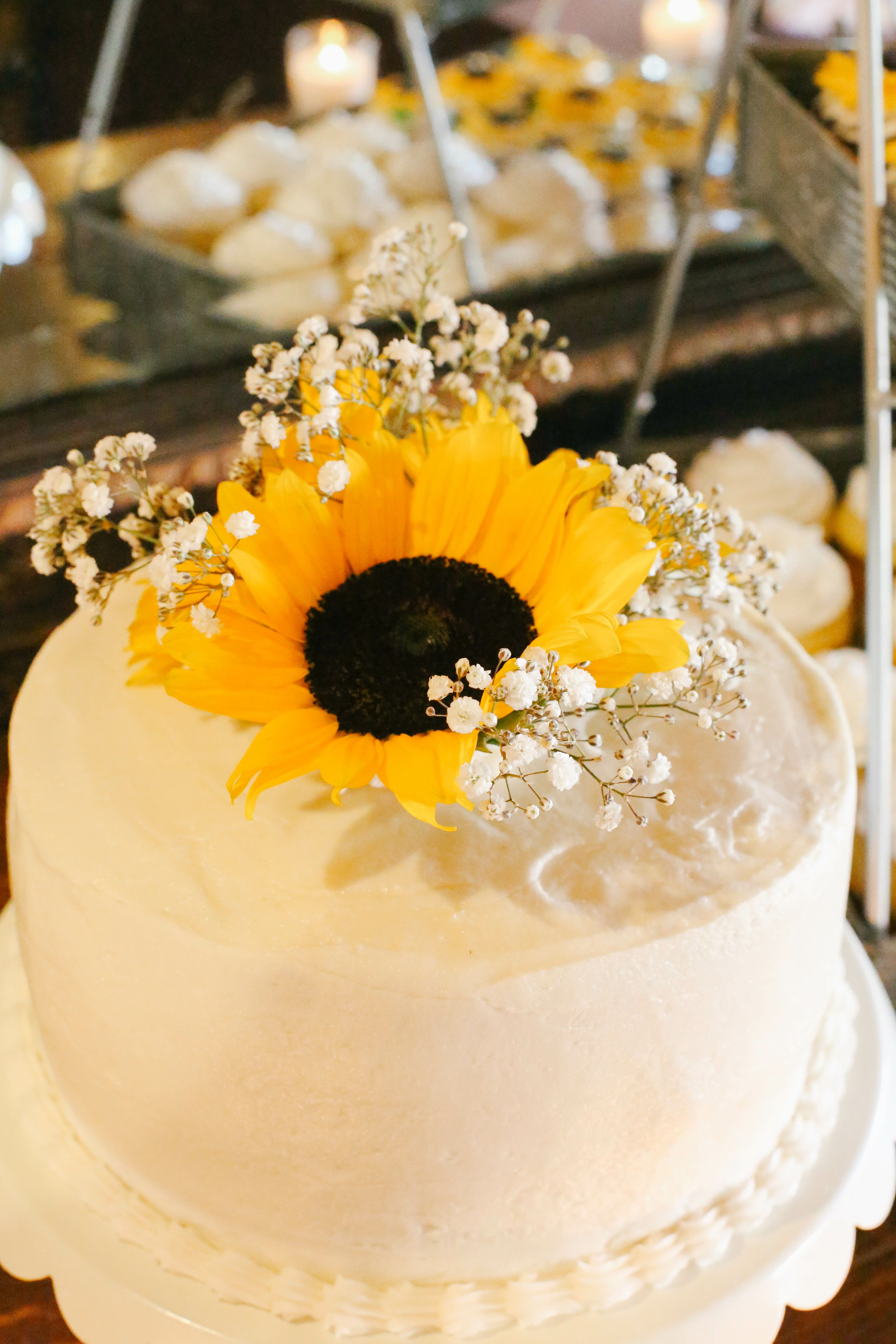 Sunflower And Baby S Breath Cake Topper