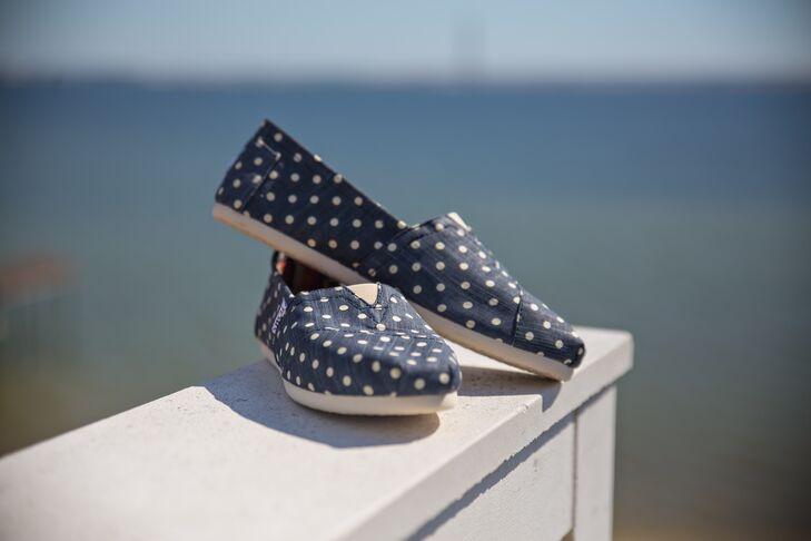 Navy Blue Polka Dot TOMS Wedding Shoes