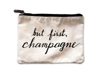 Mulberry & Grand But First, Champagne Canvas Pouch