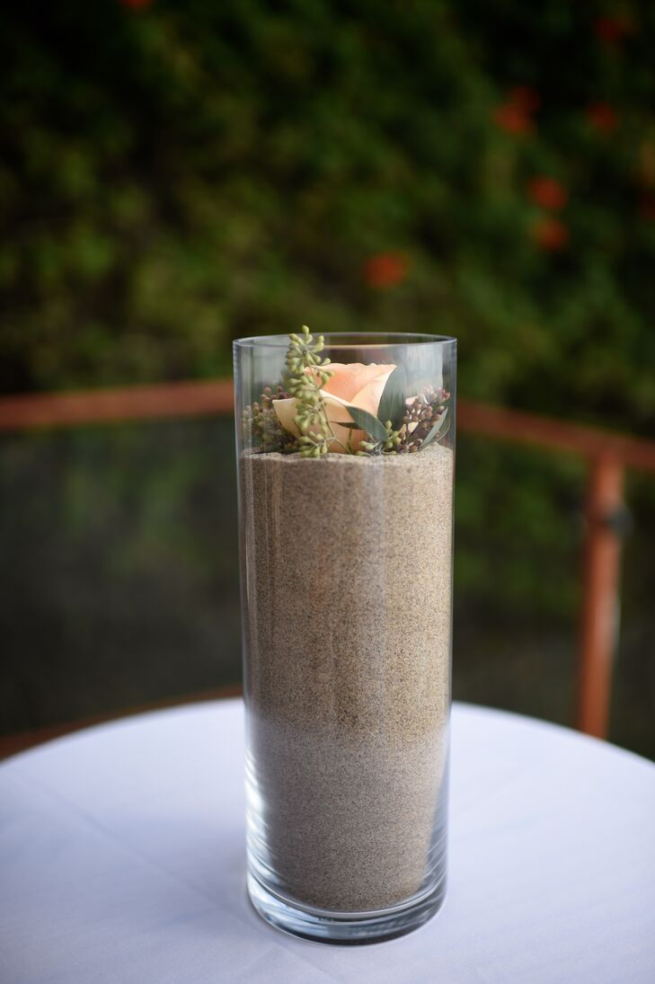 Glass Cylinder Vase Filled With Sand