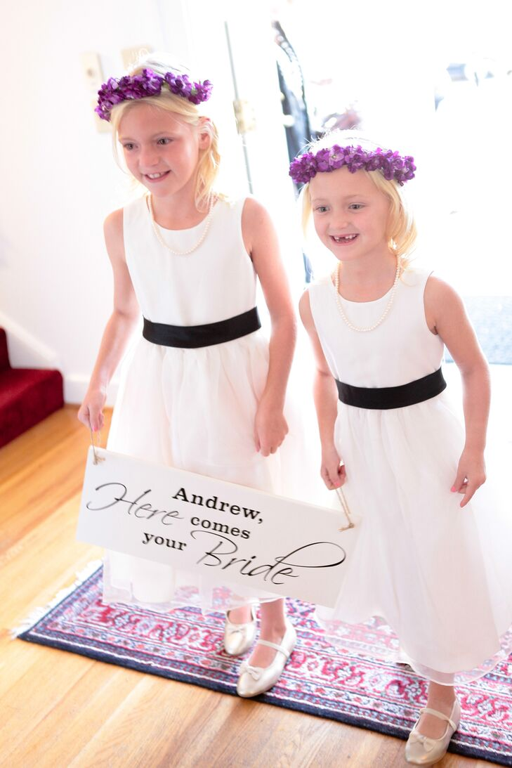 White flower girl dresses with black sash mightylinksfo