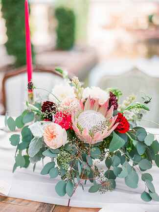 Modern protea wedding centerpiece