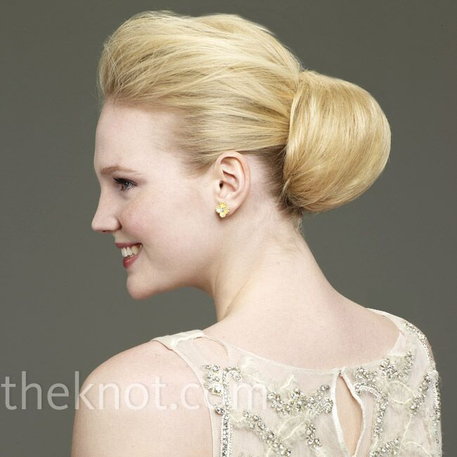 blonde model with chignon hairstyle