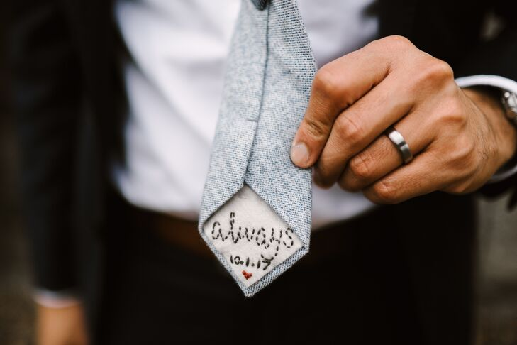 Blue Tweed Tie With Personalized Embroidery