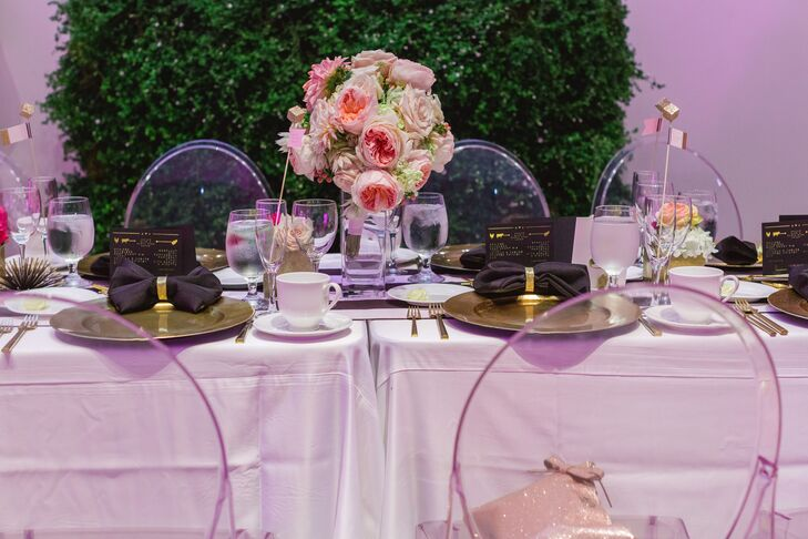 Reception Dining Table with Floral Centerpiece