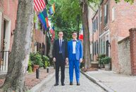 Dustin	Dove (left) and Andy Zalewski didn't have a theme for their wedding at the Pennsylvania Academy of the Fine Arts in Philadelphia (PAFA), but th