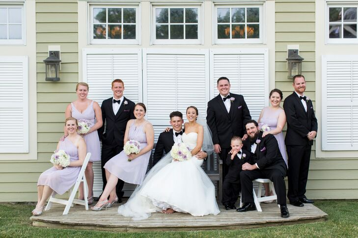 Lavender and Black Wedding Party Attire