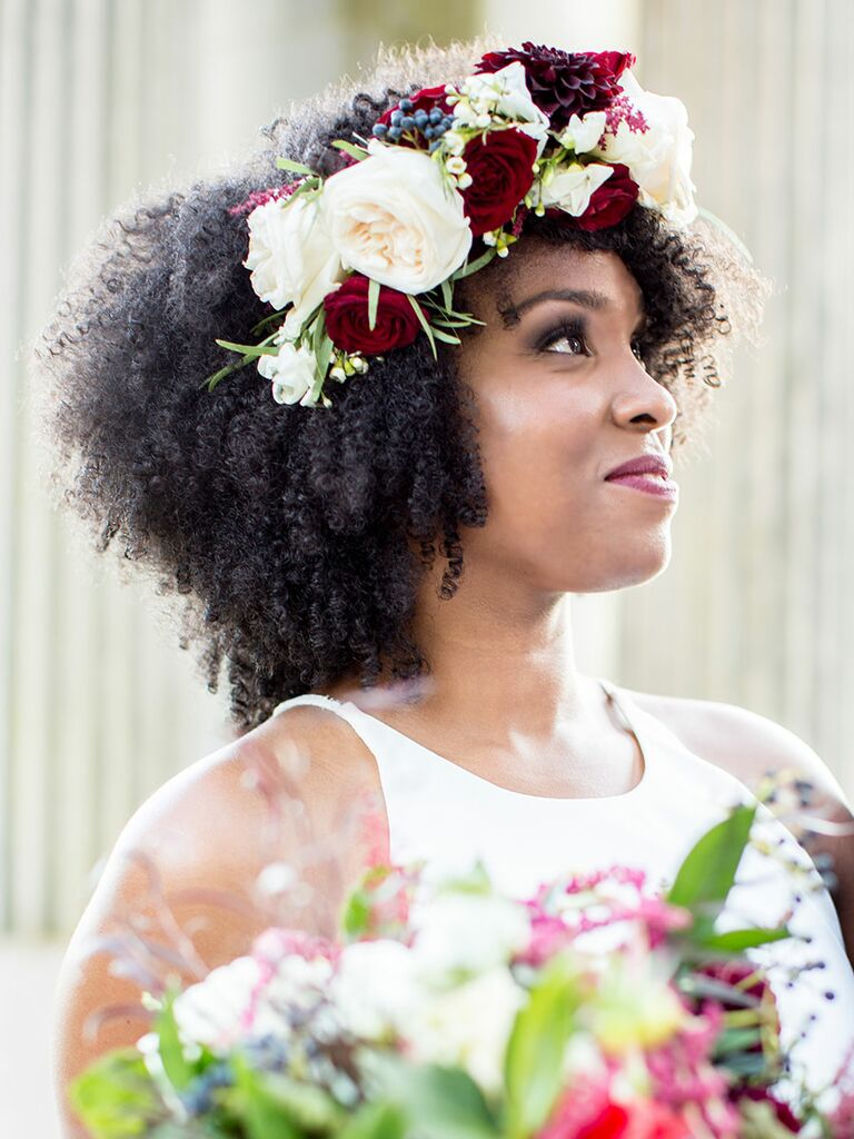 Natural Hair Bride Hairstyle With Flower Crown