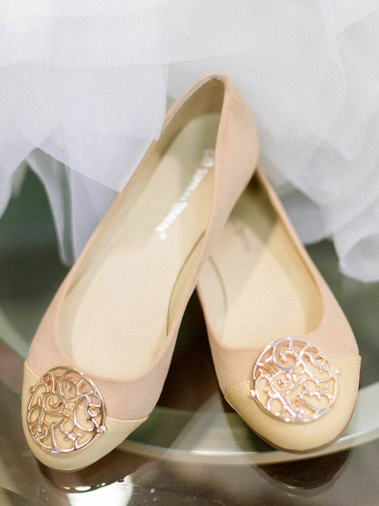 Pretty wedding flats blush and cream wedding day flat shoes with gold detail junglespirit Choice Image