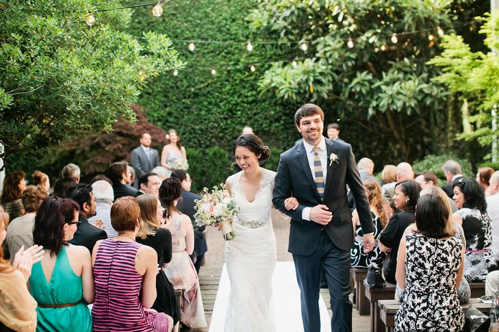 Romantic String-Lighting at Garden Ceremony Site