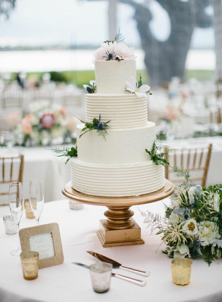 White textured buttercream wedding cake
