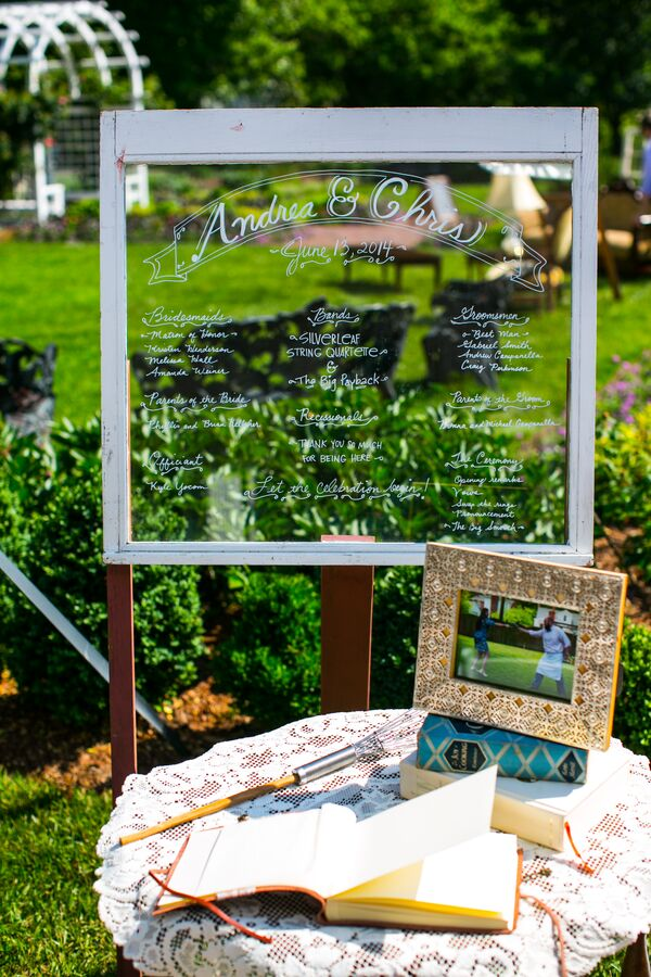 DIY Window Pane Program and Guest Book