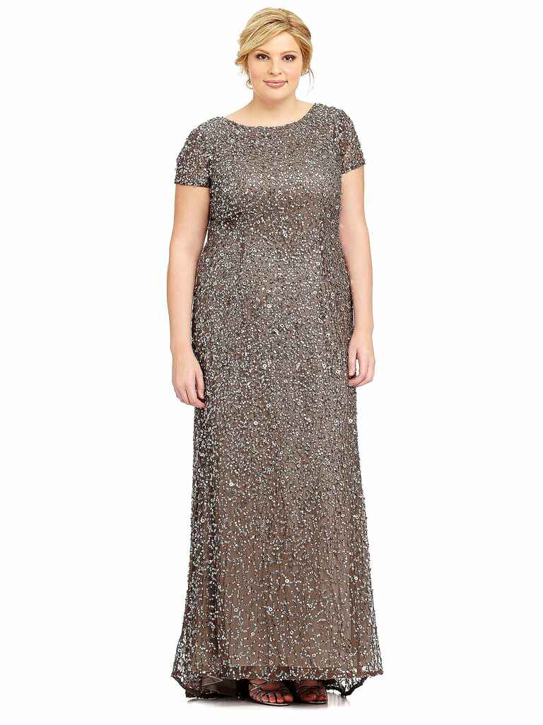 Adrianna Papell short-sleeved sequin gown
