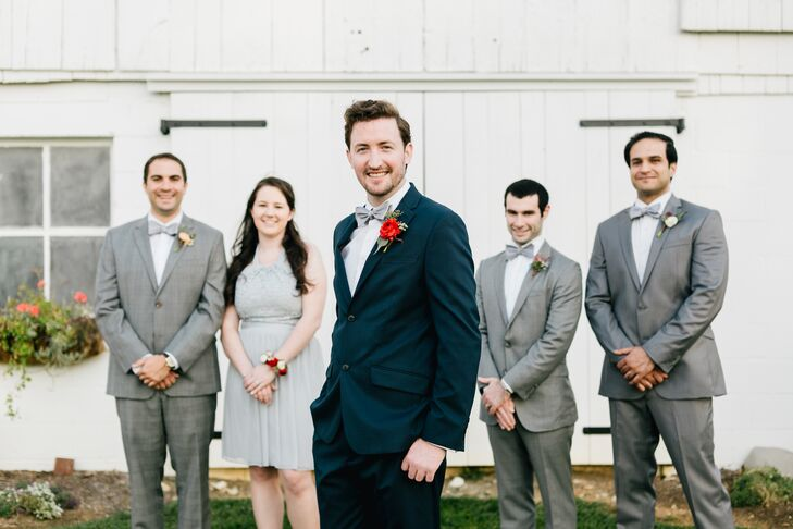 Wedding Party in Gray Suits and Bowties