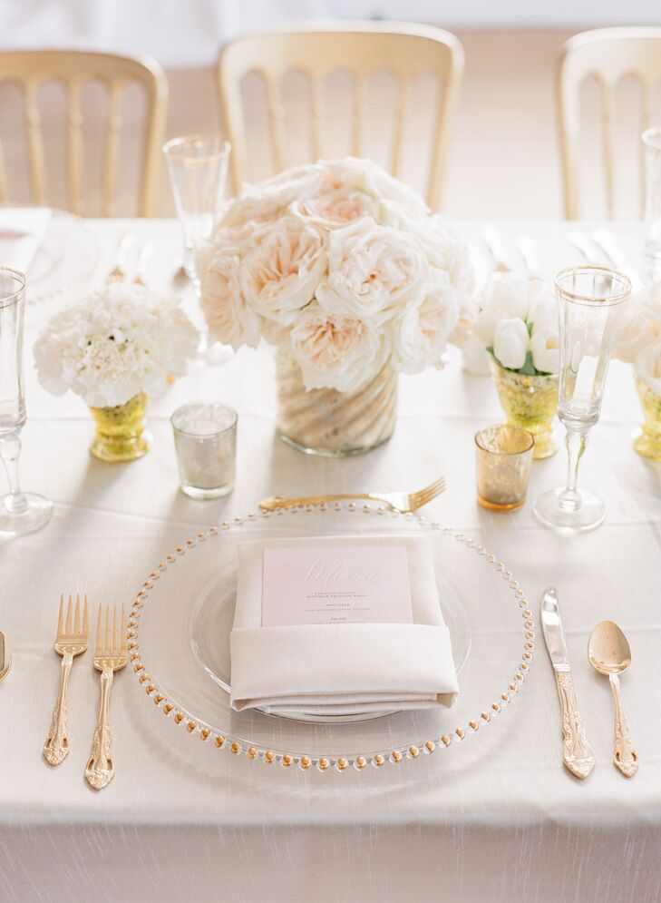 gold beaded charger wedding reception place settings. Black Bedroom Furniture Sets. Home Design Ideas