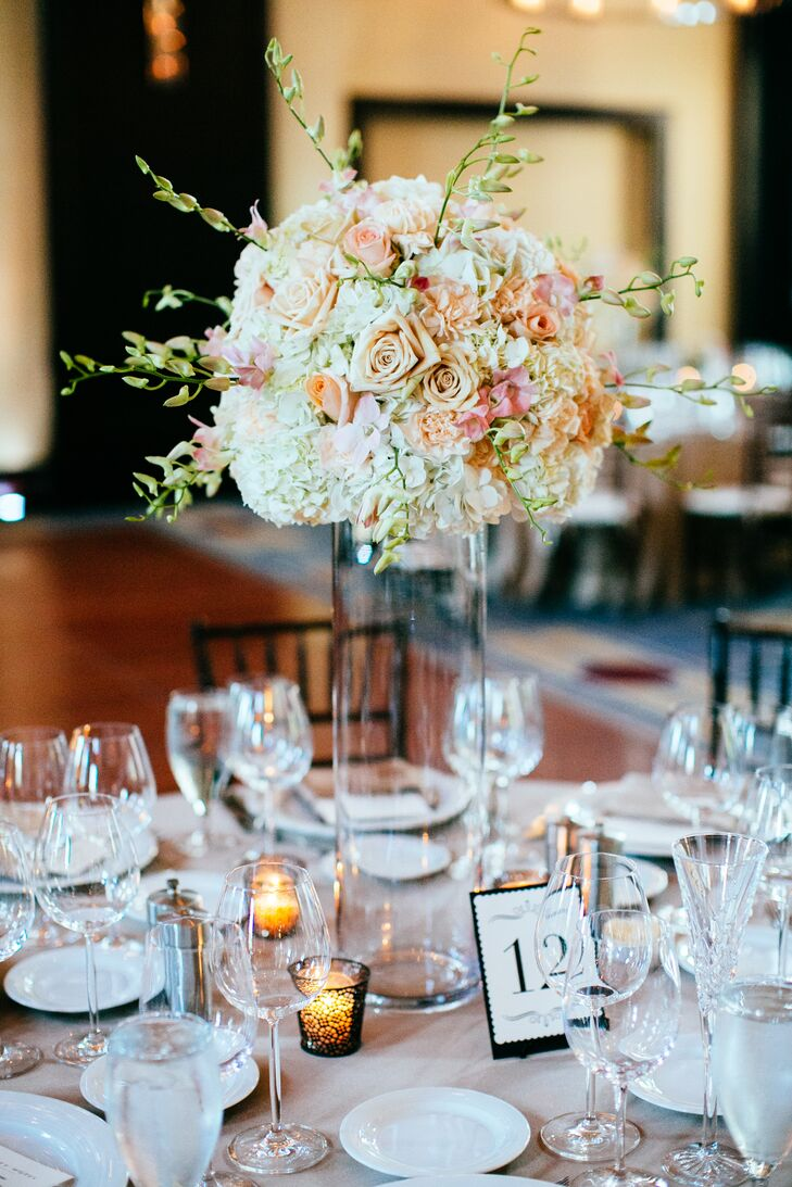 Tall Glass Hydrangea and Rose-Filled Centerpieces