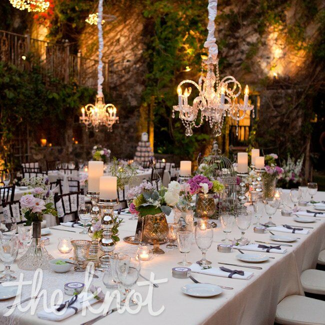 Silver and mercury glass table decor for Glass tables for wedding reception