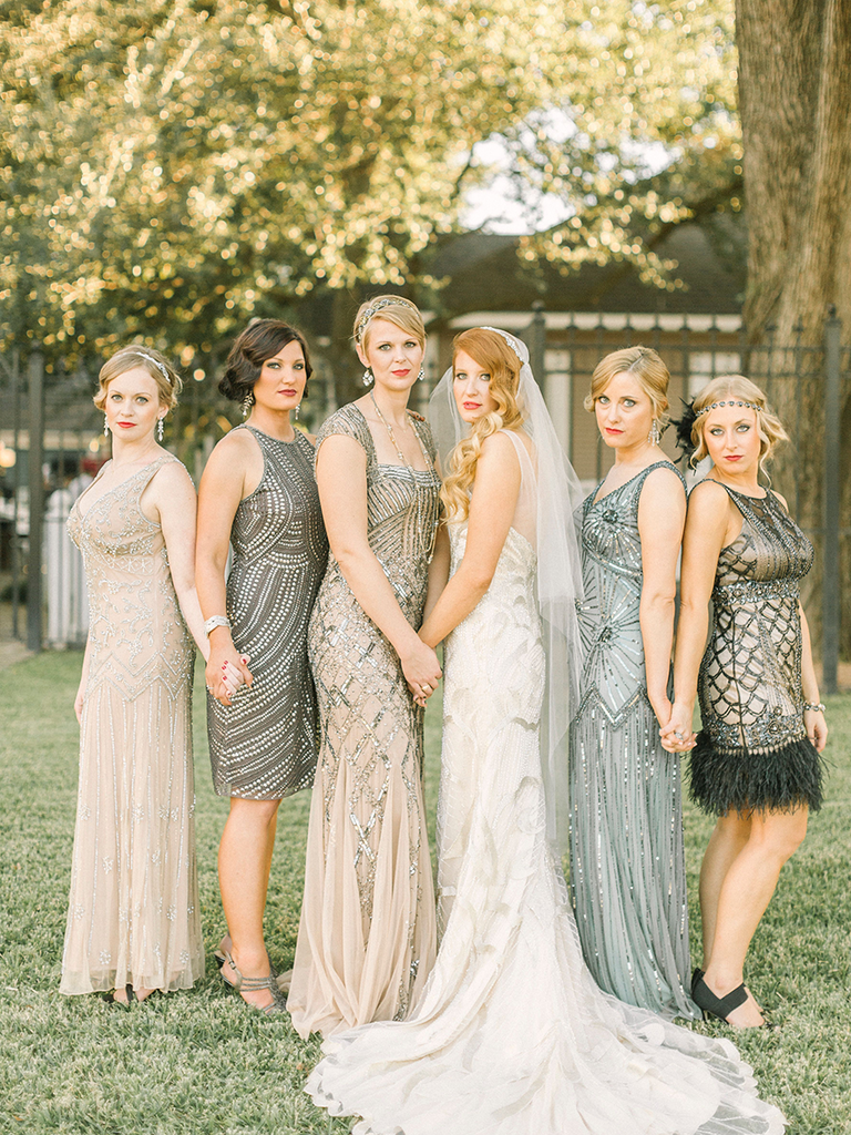 These mismatched bridesmaid dresses are the hottest trend glamorous metallic mismatched bridesmaid dresses ombrellifo Choice Image
