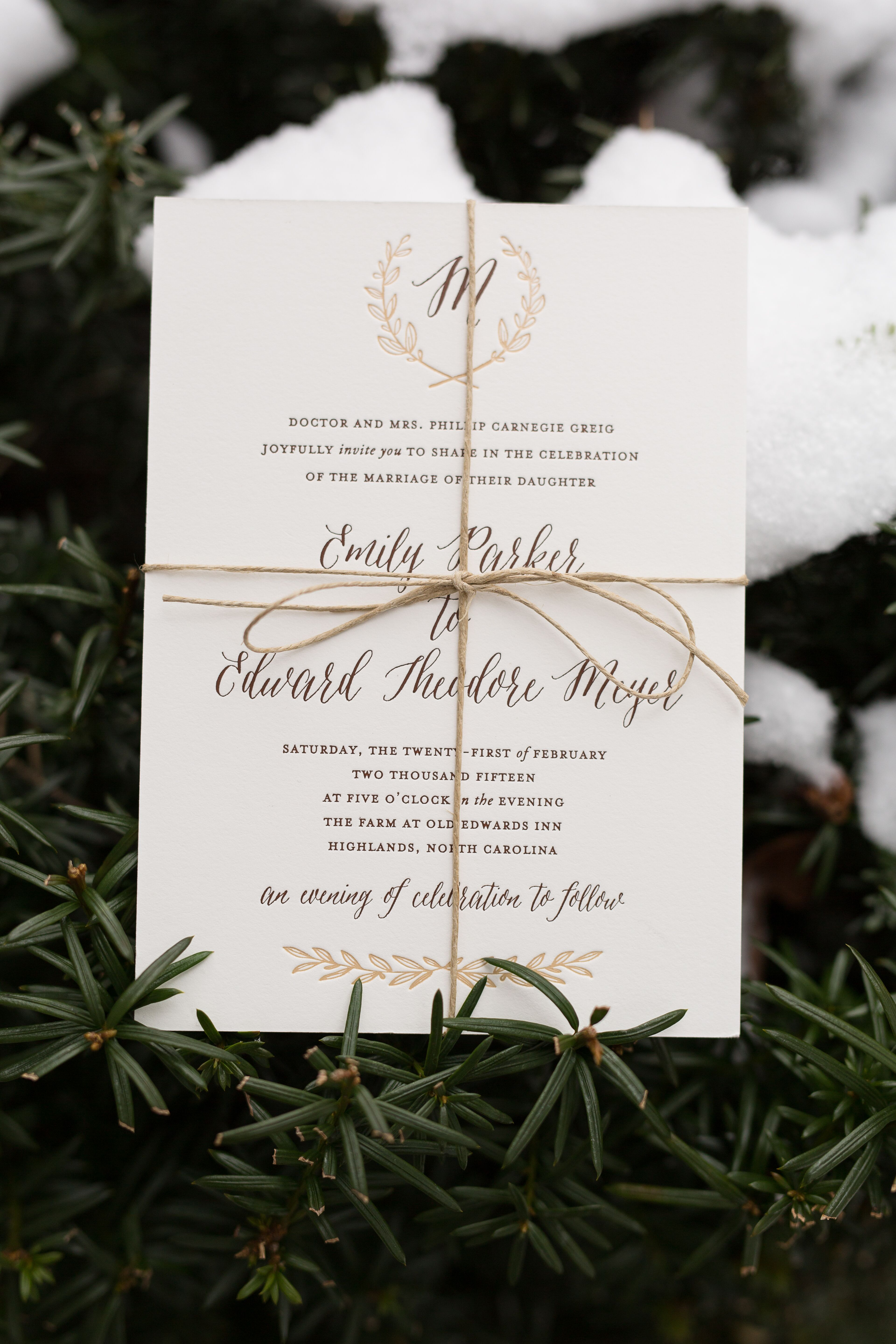 57fae7b78c83 Personalized Gold and Bronze Wedding Invitations