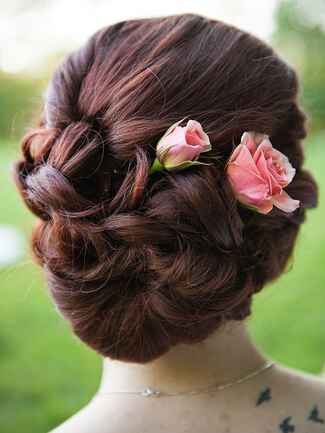 Twisted low updo hairstyle idea for brides or bridesmaids with roses