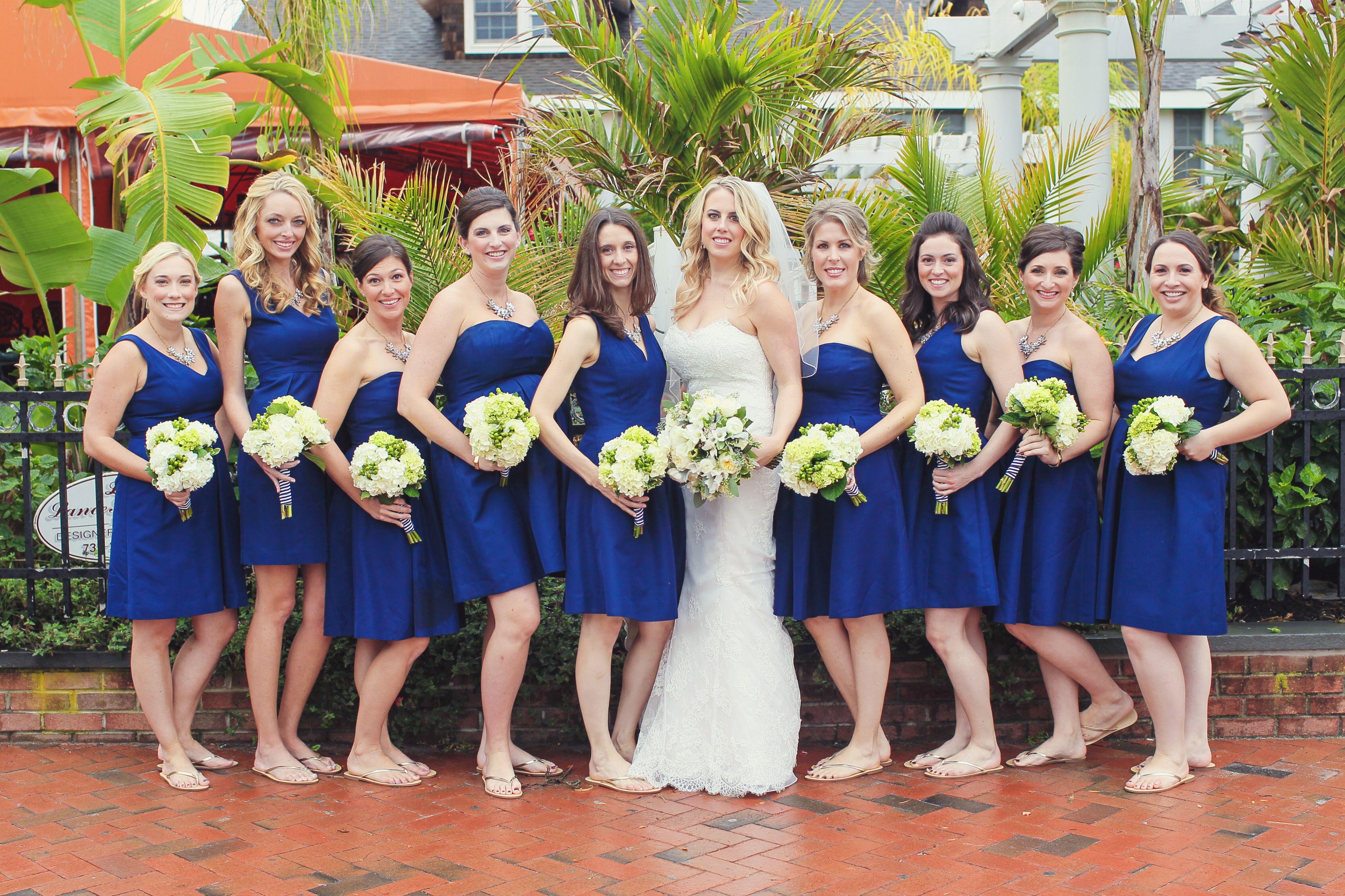 J Crew Blue Bridesmaid Dresses With Flat Sandals