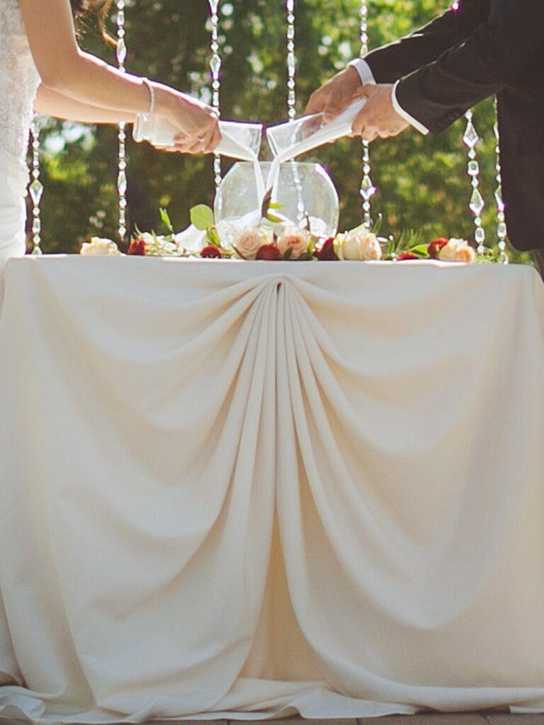 Poured Into A Round Vase Unity Sand Wedding Ceremony Ideas