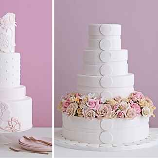 Two wedding cakes with flower details