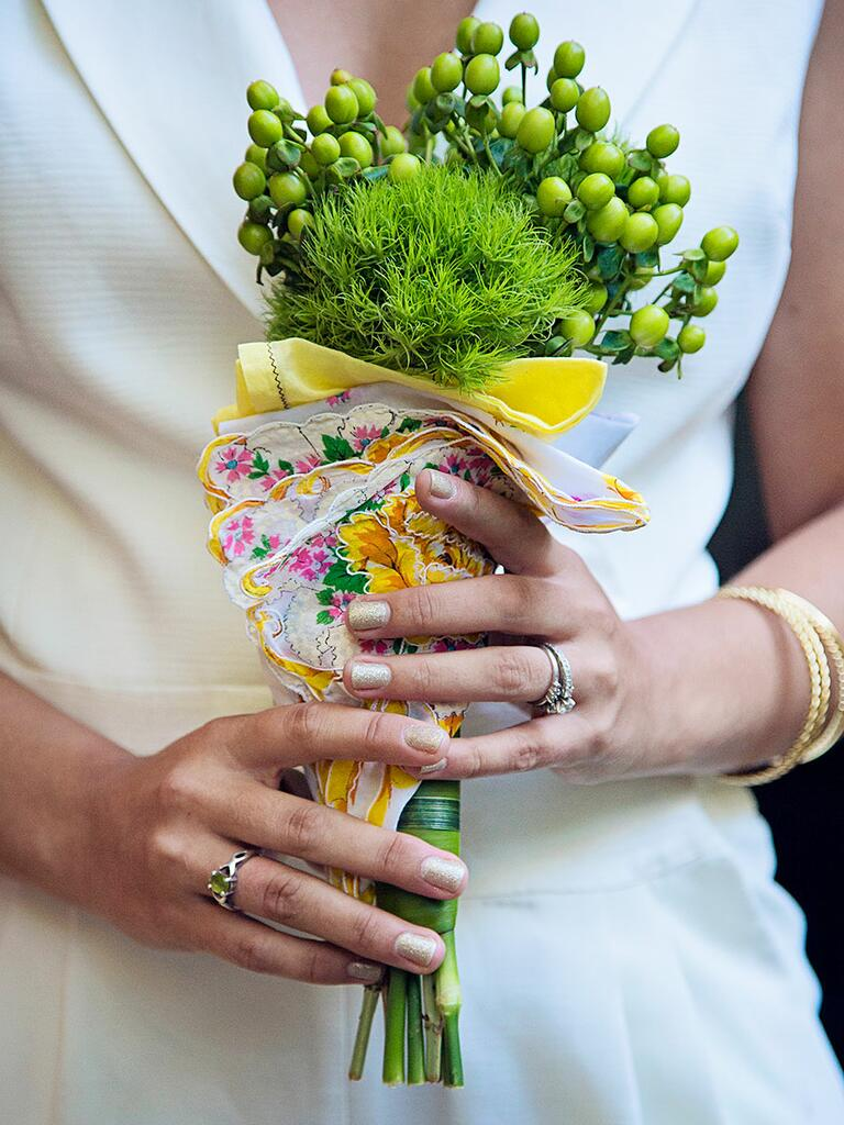 Unique green wedding bouquet with triclinium and green hypericum