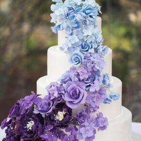 Purple wedding cakes ombre blue and purple wedding cake junglespirit Choice Image