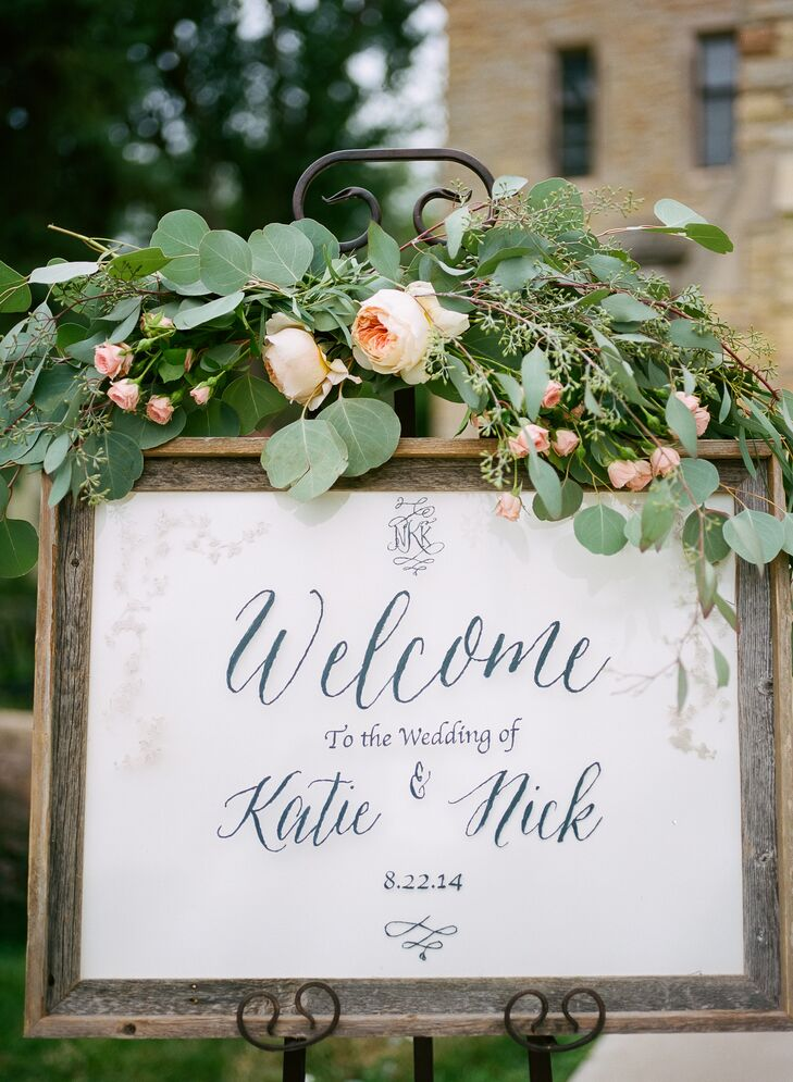 DIY Framed Welcome Sign with Eucalyptus and Garden Rose Decor