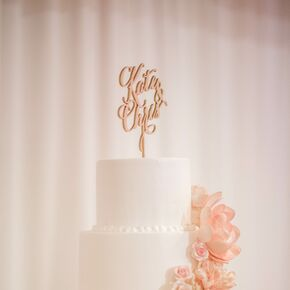 Four Tier White Blush And Gold Wedding Cake