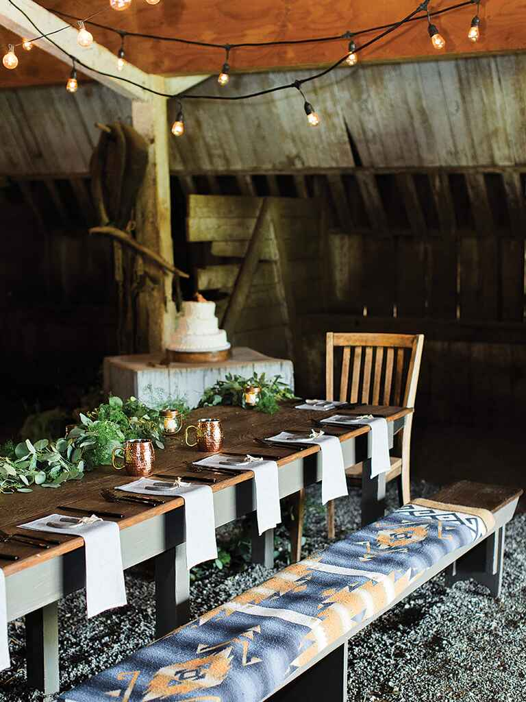Table setting for a rustic camp wedding