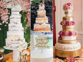 Tall wedding cakes with floral and berry details