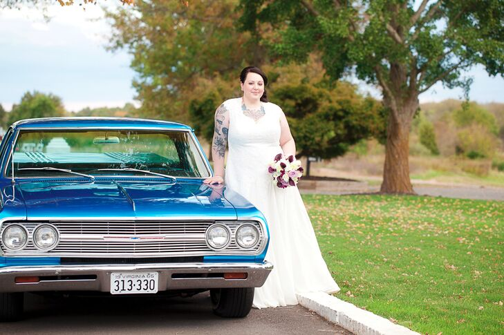 Since both the bride and groom are car lovers, Randy gifted his bride a blue 1964 El Camino as her wedding present. She complemented the car perfectly in her vintage-inspired, lace, cap-sleeve wedding dress that she had custom designed to suit her style.