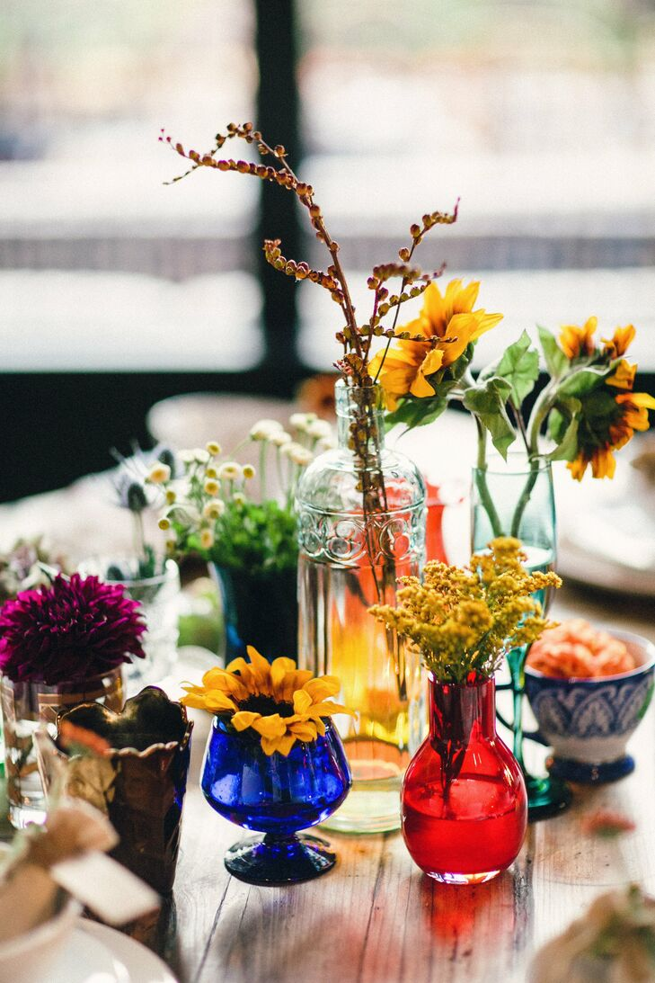 Colorful vintage glass centerpieces