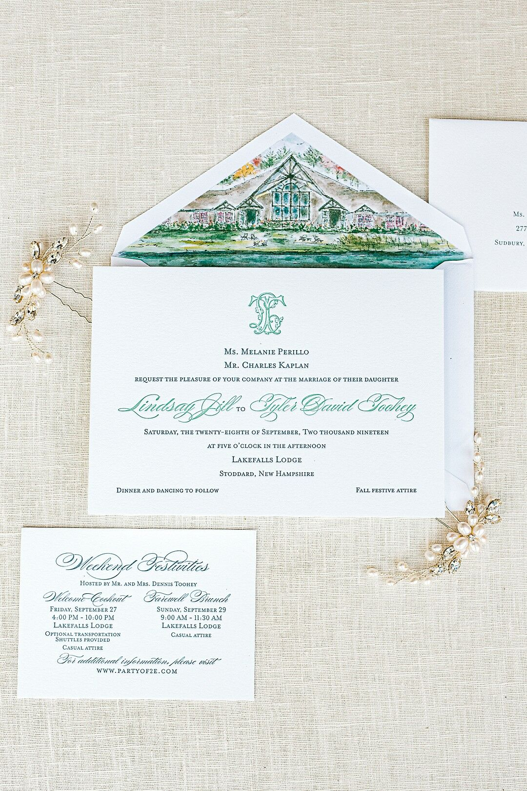 Preppy Wedding Invitations With Green