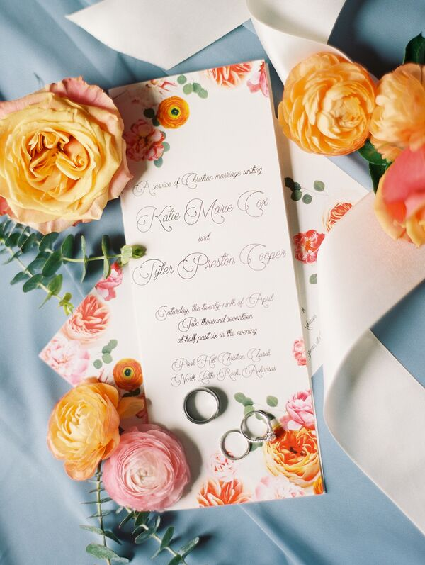 Peach and Blush Floral Ceremony Programs