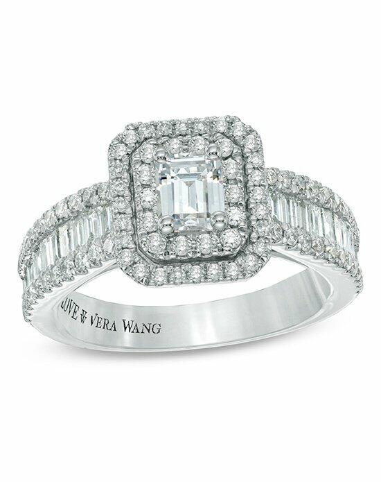 Vera Wang LOVE at Zales Vera Wang LOVE Collection 1-1/2 CT. T.W. Emerald-Cut Diamond Double Frame Ring in 14K White Gold  19952492 Engagement Ring photo