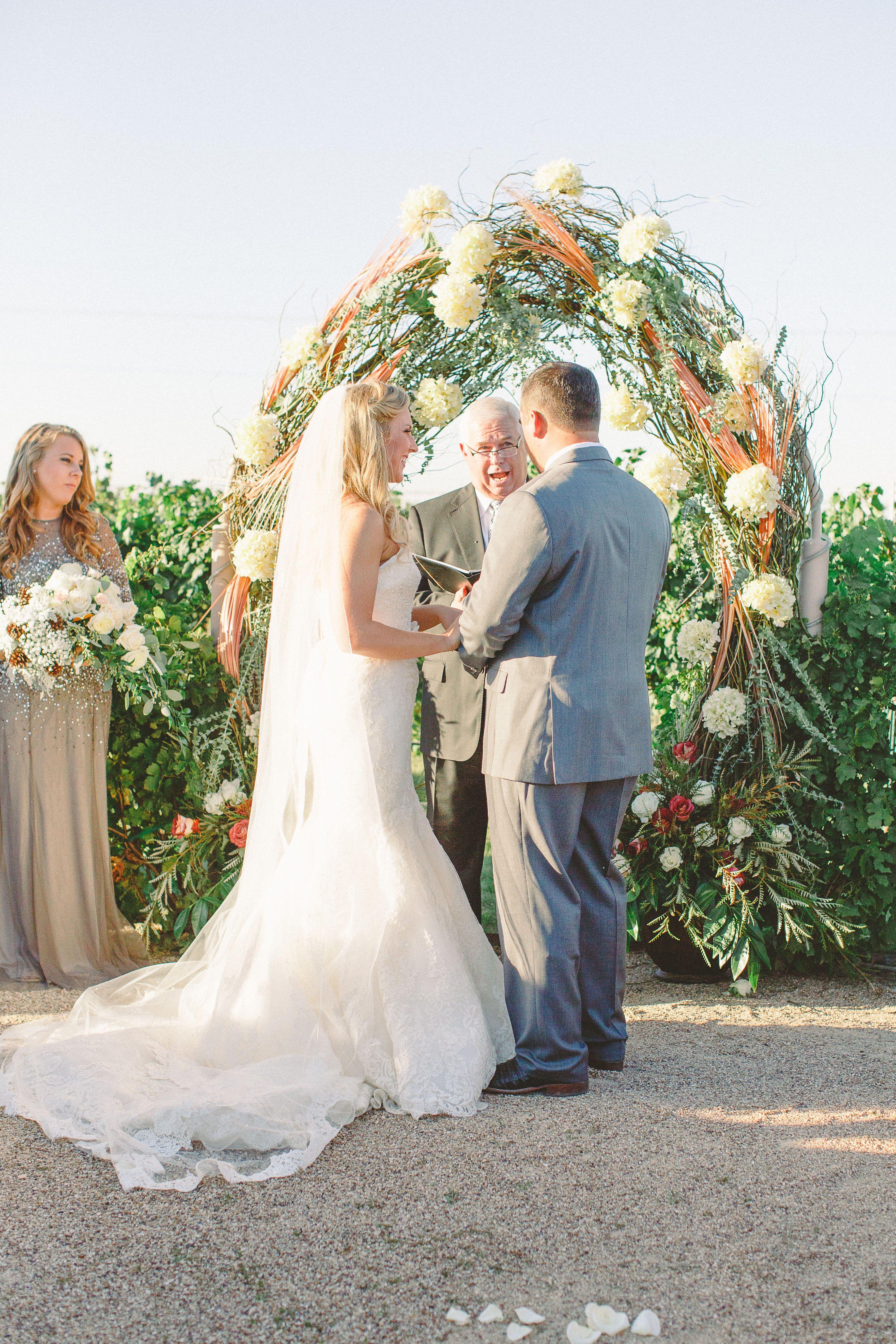 Round Natural Hydrangea And Branch Wedding Arch