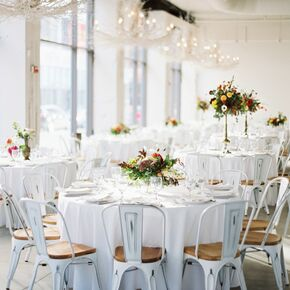 White Reception Decor With Willow Chandeliers